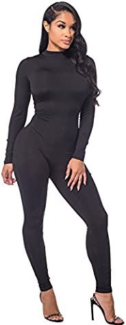 Sedrinuo Women Autumn Long Sleeve High Neck Bodycon Tight Full Length Jumpsuits Rompers
