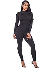 Women Autumn Long Sleeve High Neck Bodycon Tight Full Length Jumpsuits Rompers