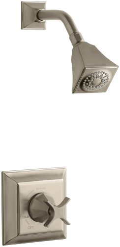 KOHLER K-T462-3S-BV Memoirs Rite-Temp Pressure-Balancing Shower Faucet Trim with Stately Design and Cross Handle, Valve Not Included, Vibrant Brushed (Memoirs Stately Shower Faucet Cross)