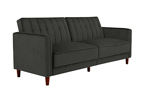 DHP Ivana Vintage Tufted Upholestered Futon Sofa Bed, Grey Velvet