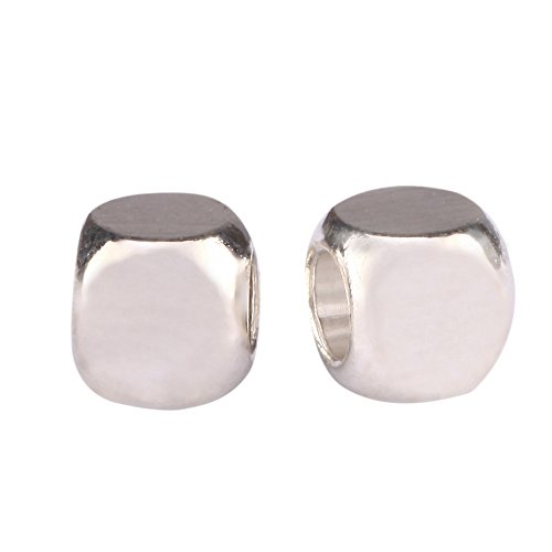 (200pcs Top Quality Smooth Cube Spacer 6mm Loose Beads (Large Hole ~ 4mm) Sterling Silver Plated Brass for Jewelry Craft Making CF122-6)