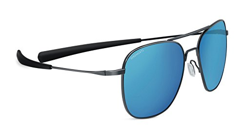 Serengeti 8205 Aerial Sunglass, Shiny Dark Gunmetal Frame, Polarized 555nm Blue Lens ()