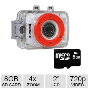 Polaroid XS7 Waterproof Hi-Def HD Sports Video Camera Camcorder with 8GB Memory Card with Helmet & Bike Mounts Action Cameras Polaroid