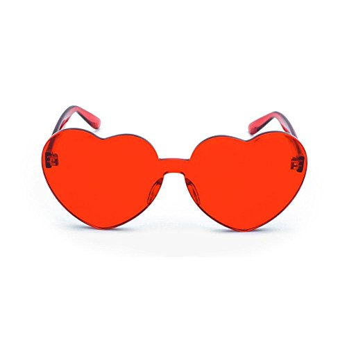plastique cœur sans Pour en normale Lunettes forme en de de monture transparent rose soleil Taille femmes rouge Red 8qXzR