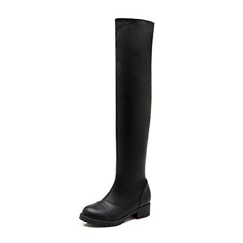 BalaMasa Womens Solid Pull-on Above-The-Knee Urethane Boots ABL10623 Black