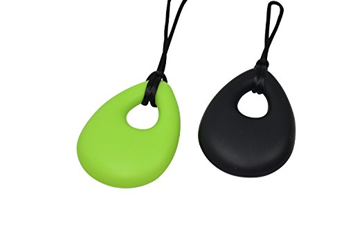 chubuddy Buds Oval Chewy Set of 2 - Hot Lime & Black, Non-Toxic Chewies