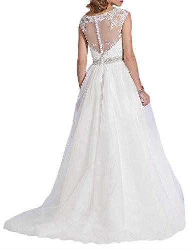 La_Marie Braut Elegant Elfenbein Spitze u-ausschnitt Hochzeitskleider Brautkleider Brautmode lang A-linie Rock QYgu5gP