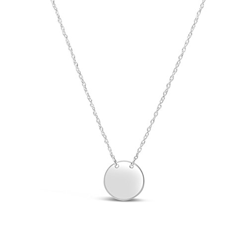 (James Free 14k Solid White Gold Disc Pendant Necklace, 16-18 inches)