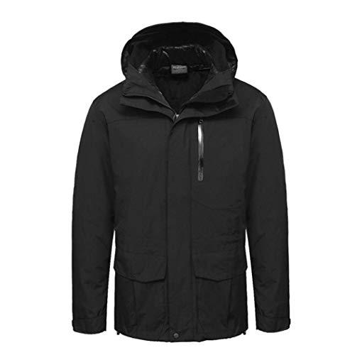 3-in-1 Jacket Camping Hiking Windproof Waterproof Detachable Warm Cotton Liner Black