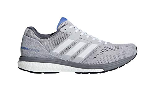 adidas Women's Adizero Boston 7 Running Shoe, White/Grey, 8 M US