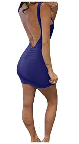 Scuro donne Coolred Scavato Della Blu Aderente Posteriore Caramella Colore Sexy Maniche Vestito Senza 77wn4xrdq