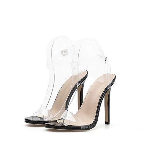 11 À Hauts Femmes Transparente Pu Bouche Style Européennes 5cm Talons De Et Poisson Américaines Escarpins Mode Artificielle Pvc Noir En F0qa0