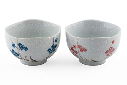 Ceramic Small Rice Bowl Set of 2 Snow Cherry Blossom Sakura Blue and Red Gift Pack Multi Purpose Dessert Snack Noodle Bowl Pair Couple