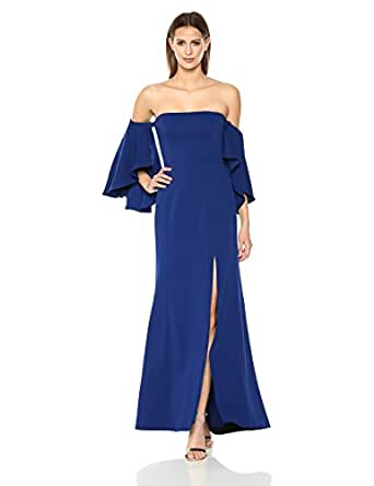 950df5ef74019b Image Unavailable. Image not available for. Color: BCBGMax Azria Women's  Simone Woven Off The Shoulder Dress with Slits, deep Royal Blue 0