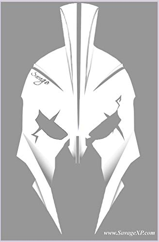 SAVAGE XP 18 Decal Pack 2A | Accessories Kit | (2) Large 6 x 4 inch Car Decals | (18) Small 5.4cm, 4cm, 2.2 cm for Magwell on AR 15, AR10, AK47,15-22, BB, and Airsoft (White Spartan)