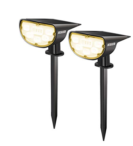 JESLED Solar Landscape Spot Lights, Warm White, Outdoor 14 LED Spotlight Dusk to Dawn, IP67 Waterproof Solar Powered 2-in-1 Wireless Landscaping Light for Yard Patio Garden Path Porch Walkway 2-Pack