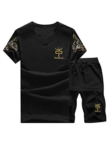 Lavnis Men's Casual Tracksuit Long Sleeve Full-Zip Running Jogging Sports Jacket and Pants Short Style Black XL