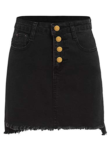 Romwe Women's Petite Slim Fit Bodycon Raw Hem Single Breasted Denim Pencil Skirt Black_1 S