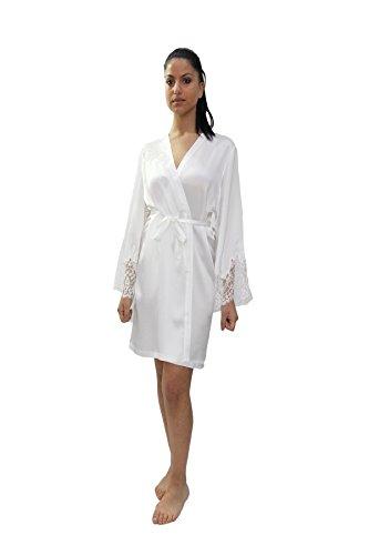 in Francese Seta Pizzo con MARJOLAINE Sposa Corto Pura Kimono 8zw7nqtx