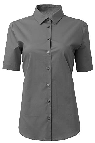 HORSE SECRET Womens Dress Shirts and Blouses for Work Gray Button Down Shirts Size 6 ()