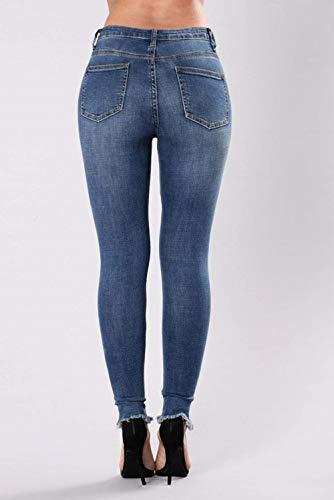 Costume Moda Matita Spezzati Jeans Con Donna Fori Denim A Navy Stretch Pantaloni Lunghi Ricamo Blau Da qp8774