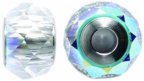 Swarovski 5948 Briolette Rondelle Bead, Crystal Finish, 14mm, Aurora (Mm Briolettes Crystal)