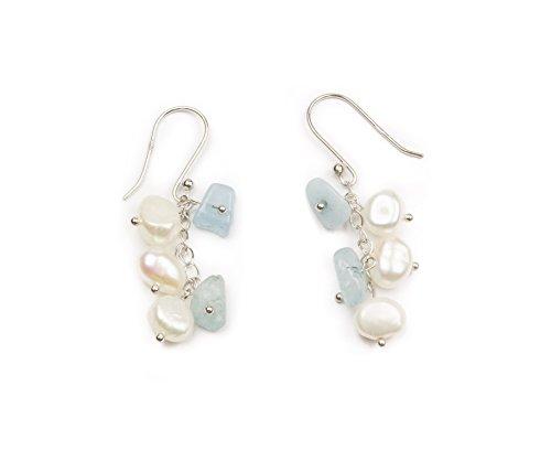 HinsonGayle Freshwater Cultured Pearl & Light Blue Aquamarine Dangle Earrings Sterling (Beryl Designer Earrings)