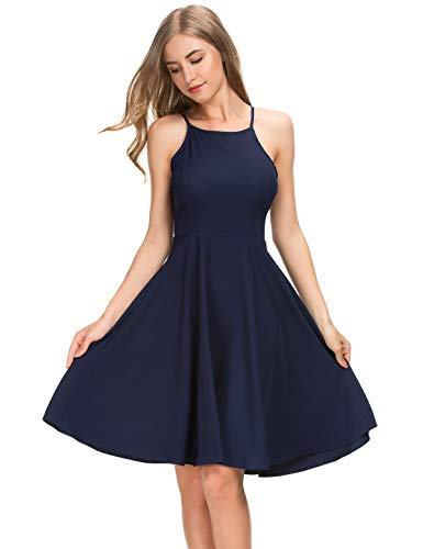 MSHING Womens Adjustable Spaghetti Strap Backless Dresses Summer Flares Mini Dress