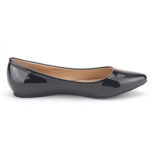 DREAM PAIRS Sole Classic Fancy Damen Casual Spitzschuh Ballett Comfort Soft Slip auf Wohnungen Schuhe Schwarz-Pat