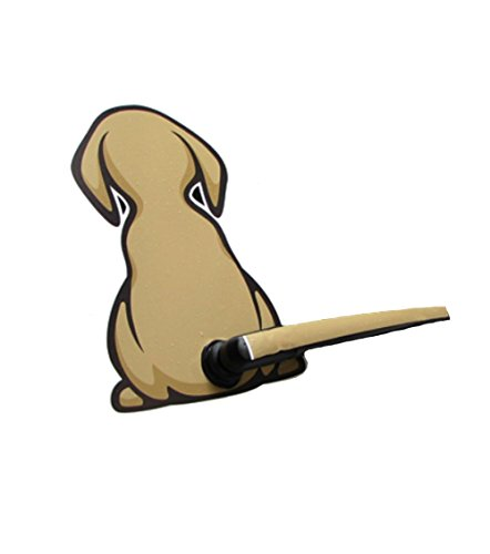 Freestyle Tail - Brown Dog with a Wagging Tail on Car Wiper Fun Decals Sticker