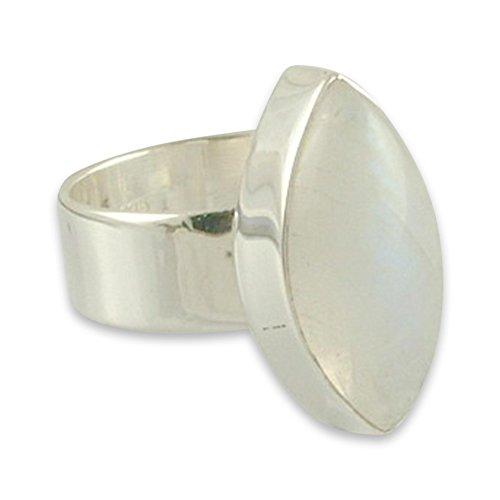 NOVICA Rainbow Moonstone .925 Sterling Silver Handmade Modern Ring 'Asymmetry' - Cabochon Sterling Silver Handmade Ring