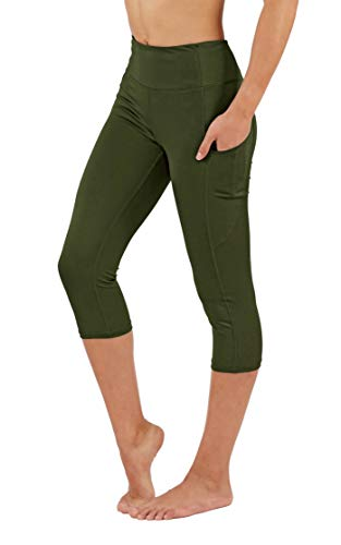 Fit Division Women's Yoga Pants with Deep Side Pockets. Power Flex Dry-Fit Workout Leggings Capri and Full Length (S fit 2-4, FD25/C-AMG)