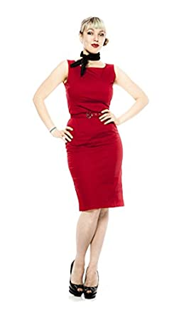 Pin Up Pencil Dress - Red (Size Small/ med (36)) at Amazon Women's ...
