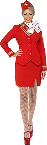 Smiffys Women's Trolley Dolly Costume, Jacket, Skirt, Scarf and Hat, Icons and Idols, Serious Fun, Size 6-8, 33873