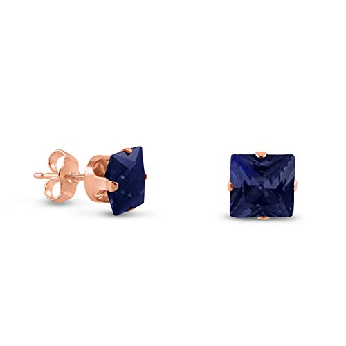 Crookston Rose Gold Plated Sterling Silver Square Cut Created Sapphire Earrings - 2-10mm | Model ERRNGS - 14649 | 8mm - 2XL -