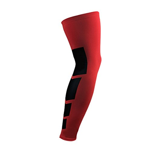 Universal Thigh Brace Set (SEVENWELL Knee Compression Sleeves Neoprene for Men & Women for Cross Training, Squats, Gym Workout, Powerlifting, Weightlifting (Red XL=US L))