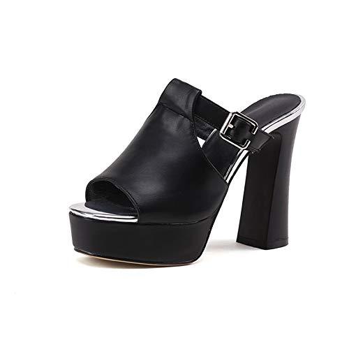 Altos on 2018 Mujer Tacones Gran Bombas Slip Black Mules Chunky De 34 Hoesczs Summer Tamaño Brand Hebilla Zapatos New 42 qwWOpg