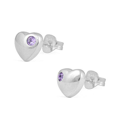 Girl's Jewelry - Silver Simulated June Birthstone Heart Stud (Birthstone Heart Childrens Earrings)