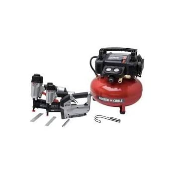 Top Selling Pro Model Compressor With Dual Tanks 150 PSI Max- Accessories Included Dual Factory Installed Couplers- Extra Strong Steel Body With Nailer Brad Nailer Crown Stapler- Frame Finish Flooring
