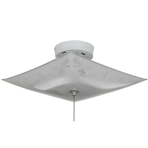 Sunlite 112PC 12-Inch Square Pull Chain 2 Lite Decorative Ceiling Fixture, White Finish with Ornate White ()