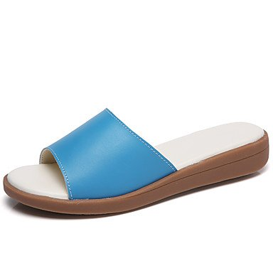 pwne Zapatillas De Mujer &Amp; Comodidad Flip-Flops Cuero Verano Otoño Casual Talón Plano Plano Blanco Azul US6.5-7 / EU37 / UK4.5-5 / CN37