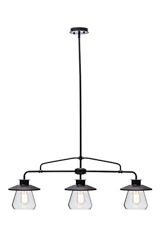 Globe Electric 3-Light Vintage Pendant, Oil Rubbed Bronze Finish, Clear Glass Shades, 64845 (Island Lighting Kitchen)