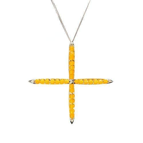 Yellow jade cross necklace by Majade. Jadeite jewelry, Chinese jade Nephrite pendant. Handmade 925 yellow jade & diamond sterling silver cross necklace. Unique decorative yellow stone jeweled cross.