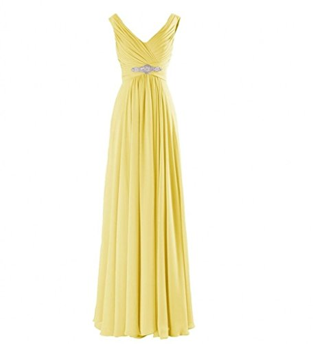 Gelb V Ausschnitt Brautjungfernkleider Marie Abschlussballkleider Partykleider Chiffon La Abendkleider Braut Elegant xAvfqwO