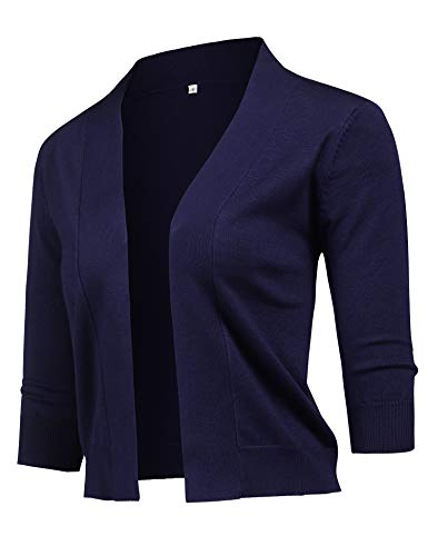 URRU Women's Cropped Cardigan V-Neck Down Knitted Sweater 3/4 Sleeve for Dresses Navy L - Knitted Cardigan Sweater Patterns