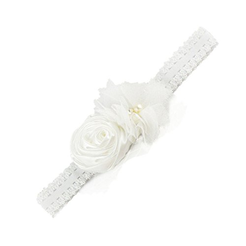 Baby Girls Lace Flower headband Satin Rosettes Flower with Pearl Head Wrap JA32 (1# White)