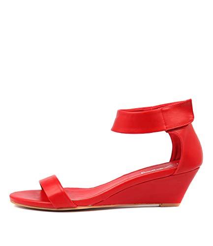 I LOVE BILLY Miesha Womens Shoes Medium Heels Summer Wedges Red Smooth