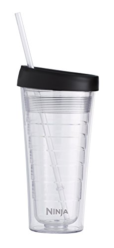Coffee Bar 18-Ounce Double-Wall Tritan Hot & Cold Tumbler with Sip & Straw Lid () - Ninja CF18TBLRS
