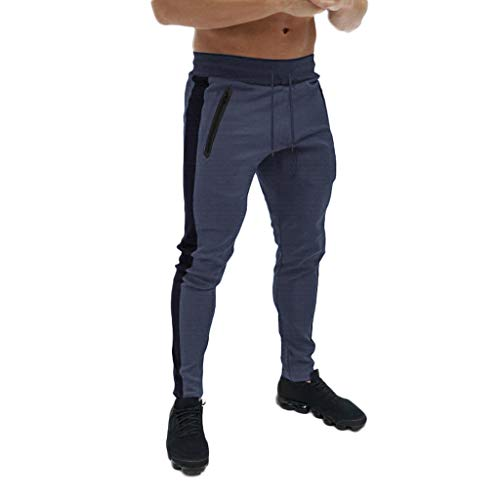 Men's Gym Jogger Pants Slim Fit Workout Running Sweatpants with Zipper Pockets Drawstring Tapered Chino Trousers Dark Gray