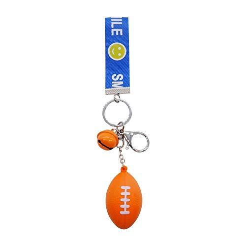 E90 Key Ring - Car Key Case&Key Rings- Car accessories - 1PCS Brown Orange Rugby American Football Pendant Ribbon Keychain Car Key Ring Decoration For Key Holder Purse Hangbag ()